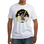 Night Flight/Silver Poodle Fitted T-Shirt