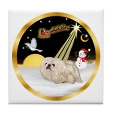 Night Flight/Pekingese Tile Coaster