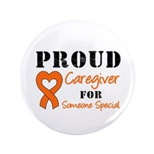 "Caregiver Orange Ribbon 3.5"" Button"