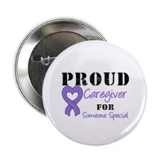 "Caregiver Purple Ribbon 2.25"" Button (10 pack"