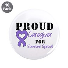 "Caregiver Purple Ribbon 3.5"" Button (10 pack)"