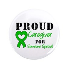 "Caregiver Green Ribbon 3.5"" Button"