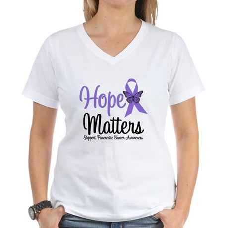 Hope Matters Pancreatic Cancer Women's V-Neck T-Sh