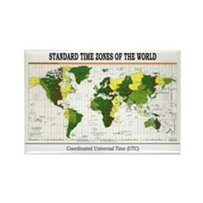 World Time Zone Map Rectangle Magnet (100 pack)