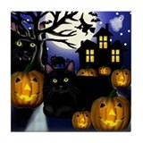 BLACK CATS HALLOWEEN Tile Coaster
