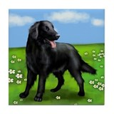 FLAT COATED RETRIEVER PARK Tile Coaster