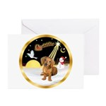 Night Flight/Dachshund #13 Greeting Cards (Pk of 1