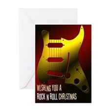 Rock n Roll Guitar Christmas Greeting Card