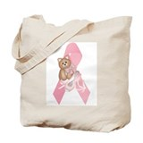 Breast Cancer Ribbon &amp; Kitty Tote Bag