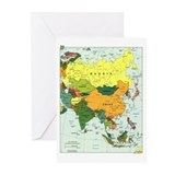 Asia Map Greeting Cards (Pk of 10)