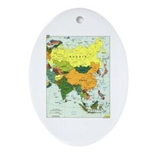 Asia Map Oval Ornament