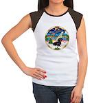 XmasMusic 3/Dachshund 17 Women's Cap Sleeve T-Shir