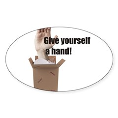 Give Yourself A Hand Oval Sticker