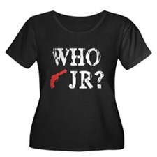 Who Shot J.R.? Women's Plus Size Scoop Neck Dark T