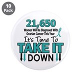 "Take Down Ovarian Cancer 4 3.5"" Button (10 pack)"
