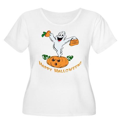 Happy Halloween Pumpkin Ghost Women's Plus Size Sc