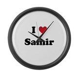 I love Samir Large Wall Clock