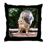 Gray Squirrel Throw Pillow