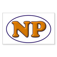 Blue on Orange Rectangle Sticker 10 pk)