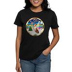 XmasMusic 3/Basenji Women's Dark T-Shirt