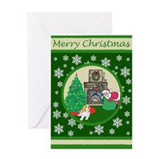 Santa & A St Bernard Greeting Card