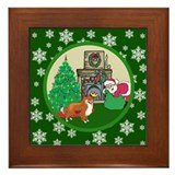 Santa & A Sheltie Framed Tile