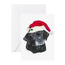 Blk Labrador Santa Hat Greeting Cards (Pk of 20)