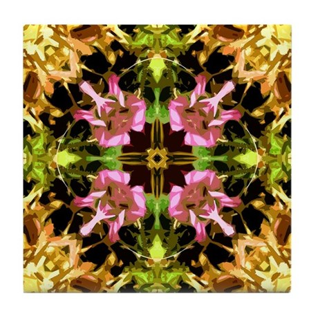 Yellow Kaleidoscope Wheel Tile Coaster