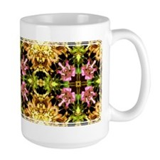 Yellow Kaleidoscope Wheel Large Mug