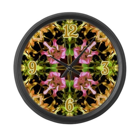 Yellow Kaleidoscope Wheel Large Wall Clock