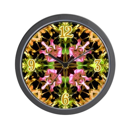 Yellow Kaleidoscope Wheel Wall Clock