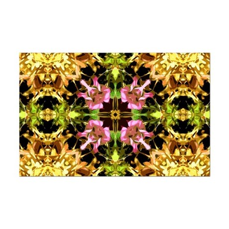 Yellow Kaleidoscope Wheel Mini Poster Print