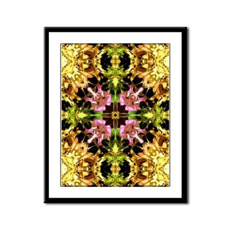 Yellow Kaleidoscope Wheel Framed Panel Print