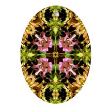 Yellow Kaleidoscope Wheel Oval Ornament