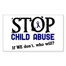Stop Child Abuse 3 Rectangle Decal