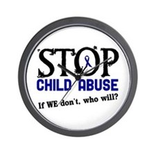 Stop Child Abuse 3 Wall Clock