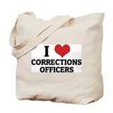 I Love Corrections Officers Tote Bag