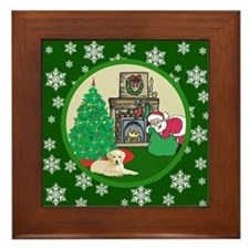 Santa & A Yellow Lab Framed Tile