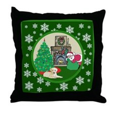 Santa & A Yellow Lab Throw Pillow