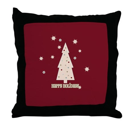Happy Holidays Tree Throw Pillow