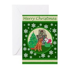 Santa & An Irish Setter Greeting Cards (Pk of 10)