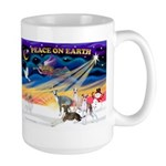 XmasSunrise/4 Ital Greyhnds Large Mug