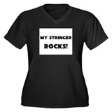 MY Stringer ROCKS! Women's Plus Size V-Neck Dark T