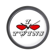 I Love Love Twins Wall Clock