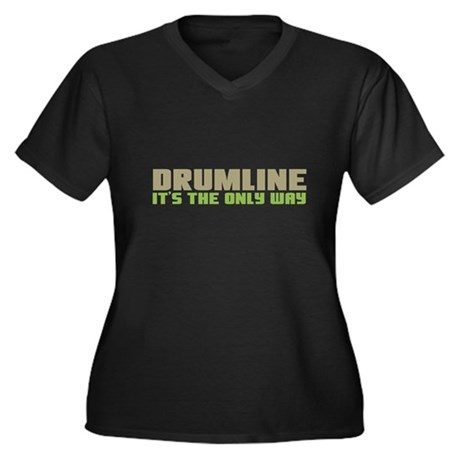 Drumline Women's Plus Size V-Neck Dark T-Shirt