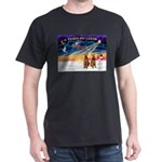 XmasSunrise/2 Airedales Dark T-Shirt