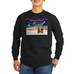XmasSunrise/2 Airedales Long Sleeve Dark T-Shirt
