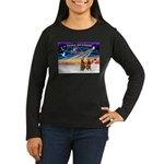 XmasSunrise/2 Airedales Women's Long Sleeve Dark T
