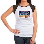 XmasSunrise/2 Airedales Women's Cap Sleeve T-Shirt