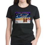 XmasSunrise/2 Airedales Women's Dark T-Shirt